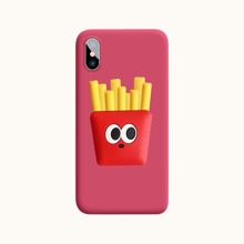 1pc Solid iPhone Case & 1pc French Fries Shaped Phone Holder