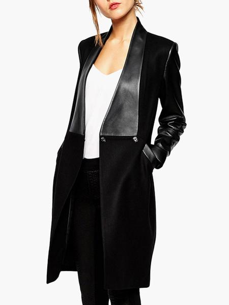 Milanoo Abrigo negro con manga larga Cuello convertible   Abrigos Mujer