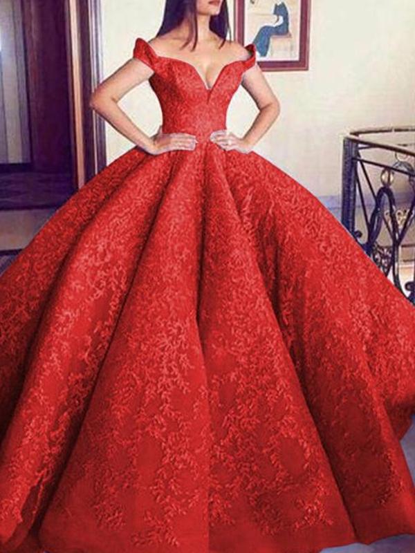 Ericdress Off-The-Shoulder Floor-Length Beading Evening Dress