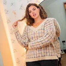 Pullover mit V-Kragen und Karo Muster