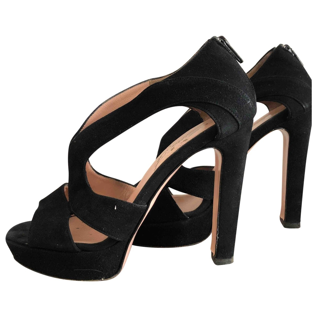 Non Signé / Unsigned \N Black Suede Sandals for Women 37.5 EU
