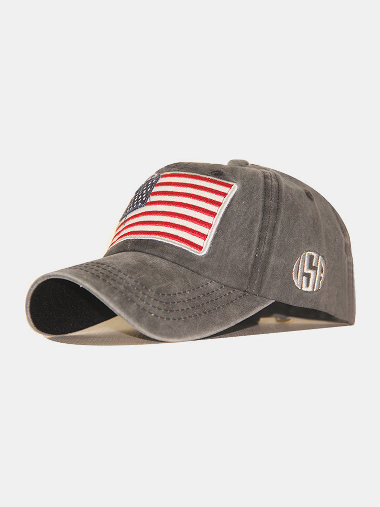 Men Washed Cotton Embroidery Baseball Cap Outdoor Sunshade Adjustable Hats