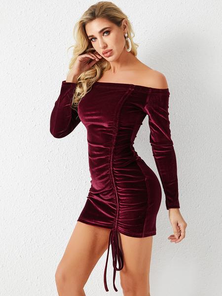 YOINS Red Off-the-Shoulder Drawstring Velvet Dress