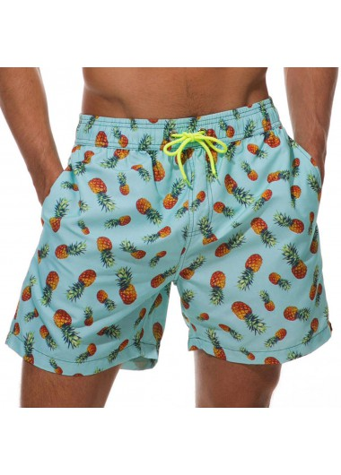 Quick Dry Mesh Liner Pineapple Print Bermuda Men's Swim Trunks - L