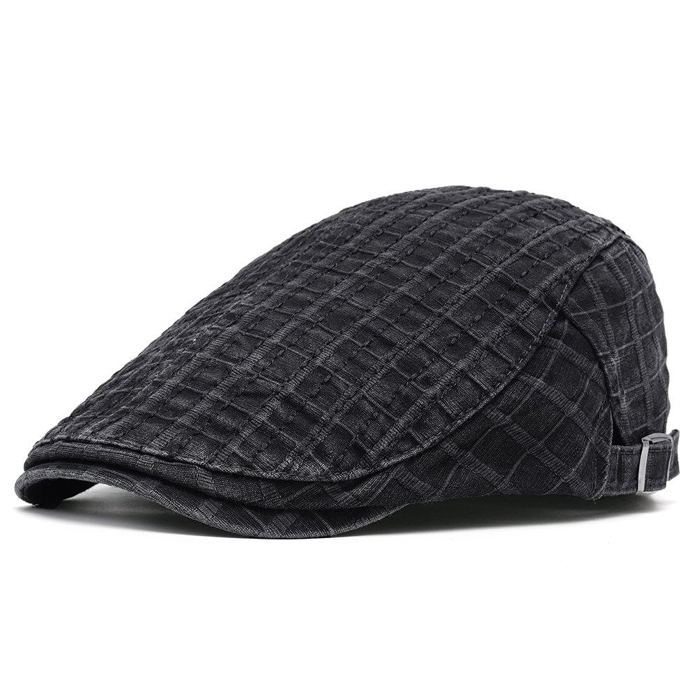 Men Vintage Cotton Stripe Newsboy Cap Comfortable Wild Soft Outdoor Travel Casual Beret Cap