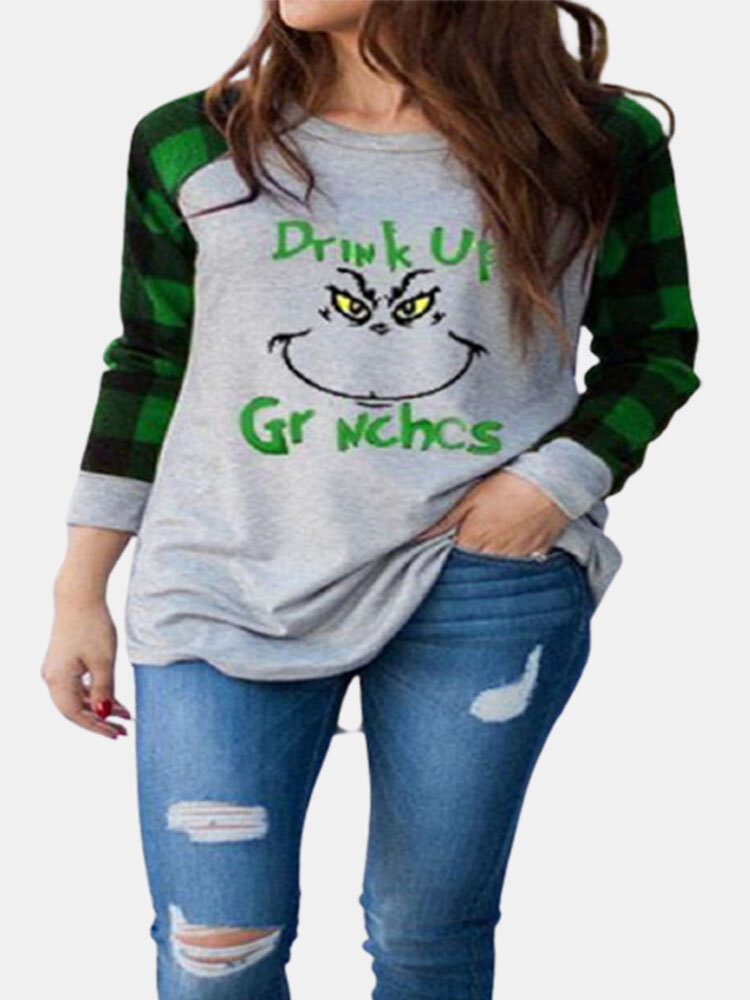Christmas Letters Print Plaid Patchwork O-neck Long Sleeve T-shirt