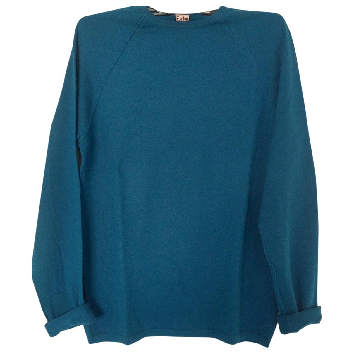 Replay - Pull   pour femme en laine - bleu