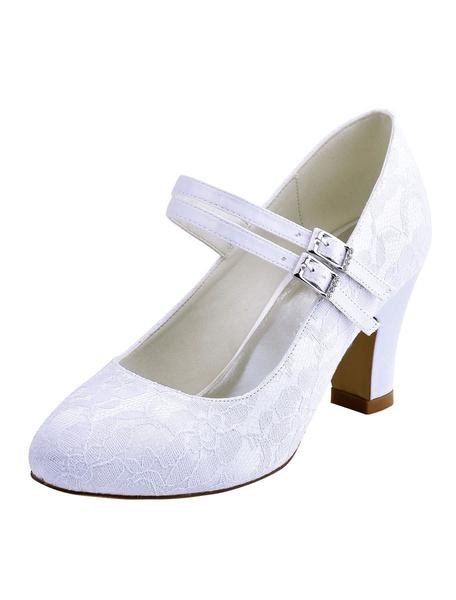 Milanoo Ivory Wedding Shoes 2020 Women Round Toe Mary Jane Bridal Shoes