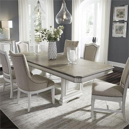 Abbey Park Collection 520-DR-7TRS 7PC Trestle Table Set with 4x Uph Side Chair  2x Hostess Chair and 1 Trestle Table in Antique White