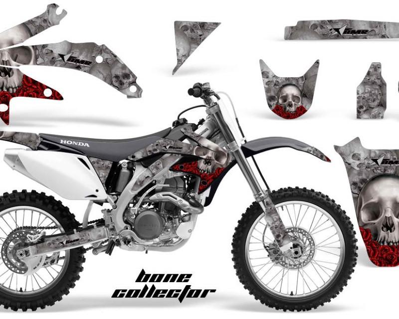 AMR Racing Dirt Bike Graphics Kit Decal Sticker Wrap For Honda CRF450R 2005-2008áBONES SILVER