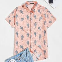 Camisa de lunares con cactus con cuello