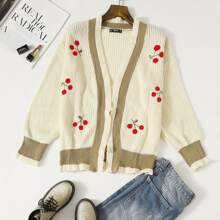 Plus Cherry Embroidery Open Front Cardigan