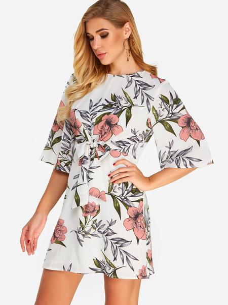 Yoins White Self-tie Design Random Floral Print Bell Sleeves Mini Dress