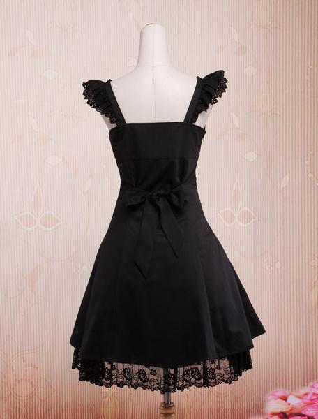Milanoo Classic Black Straps Neck Cotton Lolita Jumper Skirt