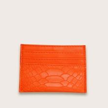 Neon Orange Geldborse mit Schlangenleder Muster