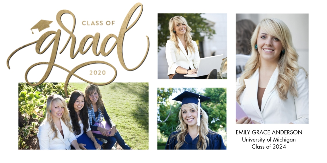 2020 Graduation Announcements Flat Matte Photo Paper Cards with Envelopes, 4x8, Card & Stationery -Grad 2020 Script Simple by Tumbalina