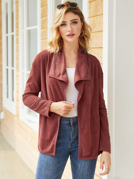 Yoins Burgundy Lapel Collar Long Sleeves Coat