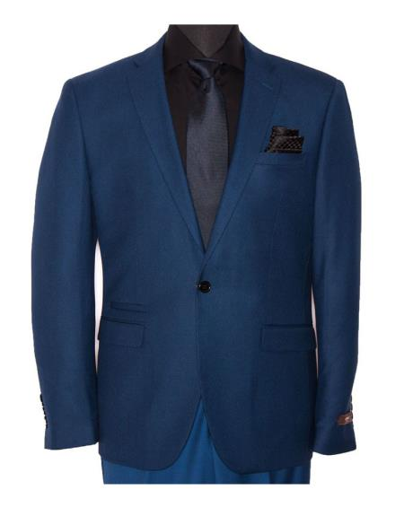 Vitarelli Men's Slim Fit Blue 1 Button Poly Viscose Blend Suit