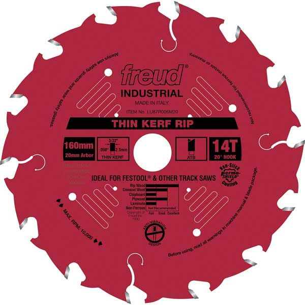 LU87R006M20 Thin Kerf Ripping Blade with Red Perma-Shield, 160mm diameter,  20mm arbor