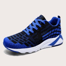 Men Geometric Pattern Lace Up Front Sneakers
