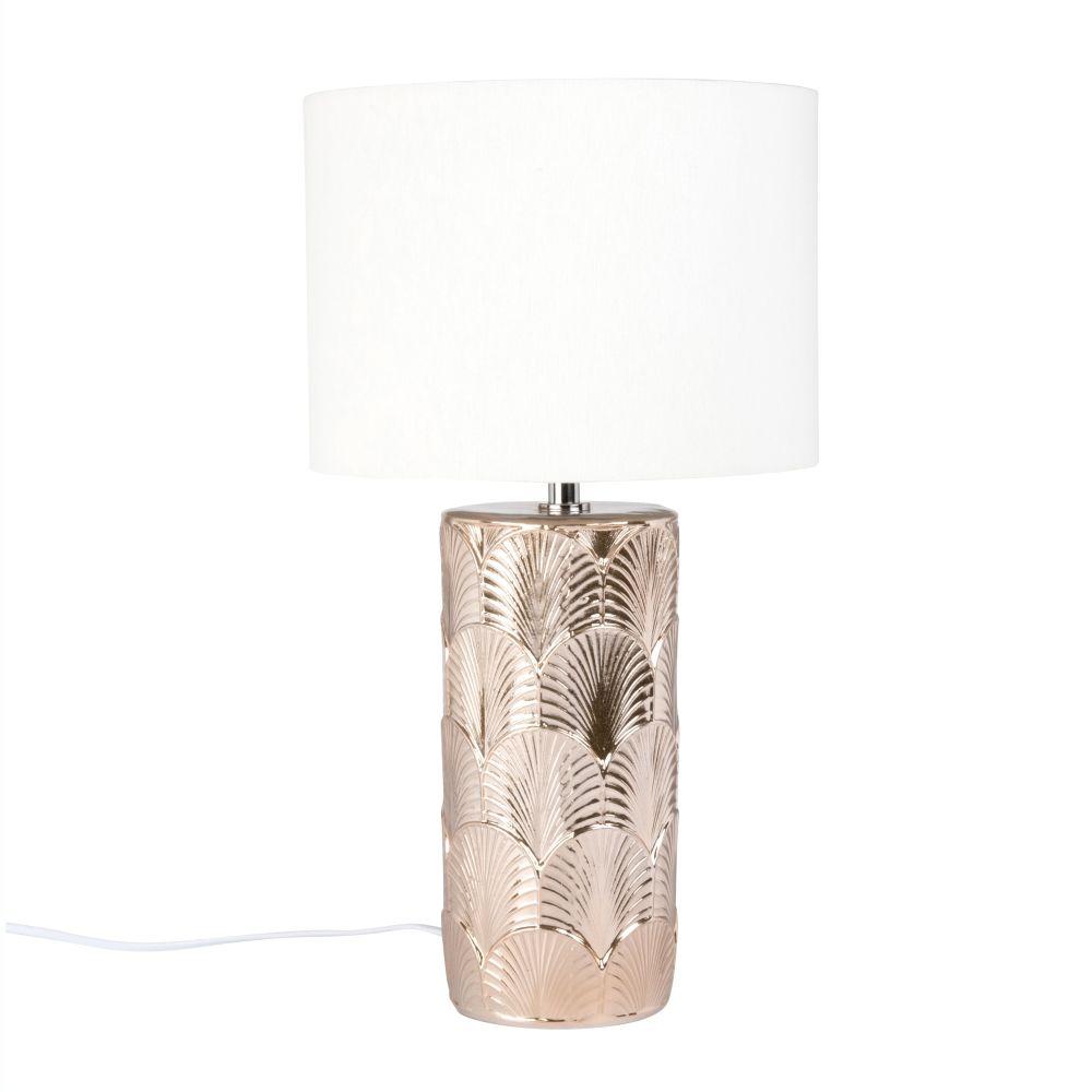 Lampe aus goldfarbener Keramik mit Verzierungen und ecrufarbenem Lampenschirm