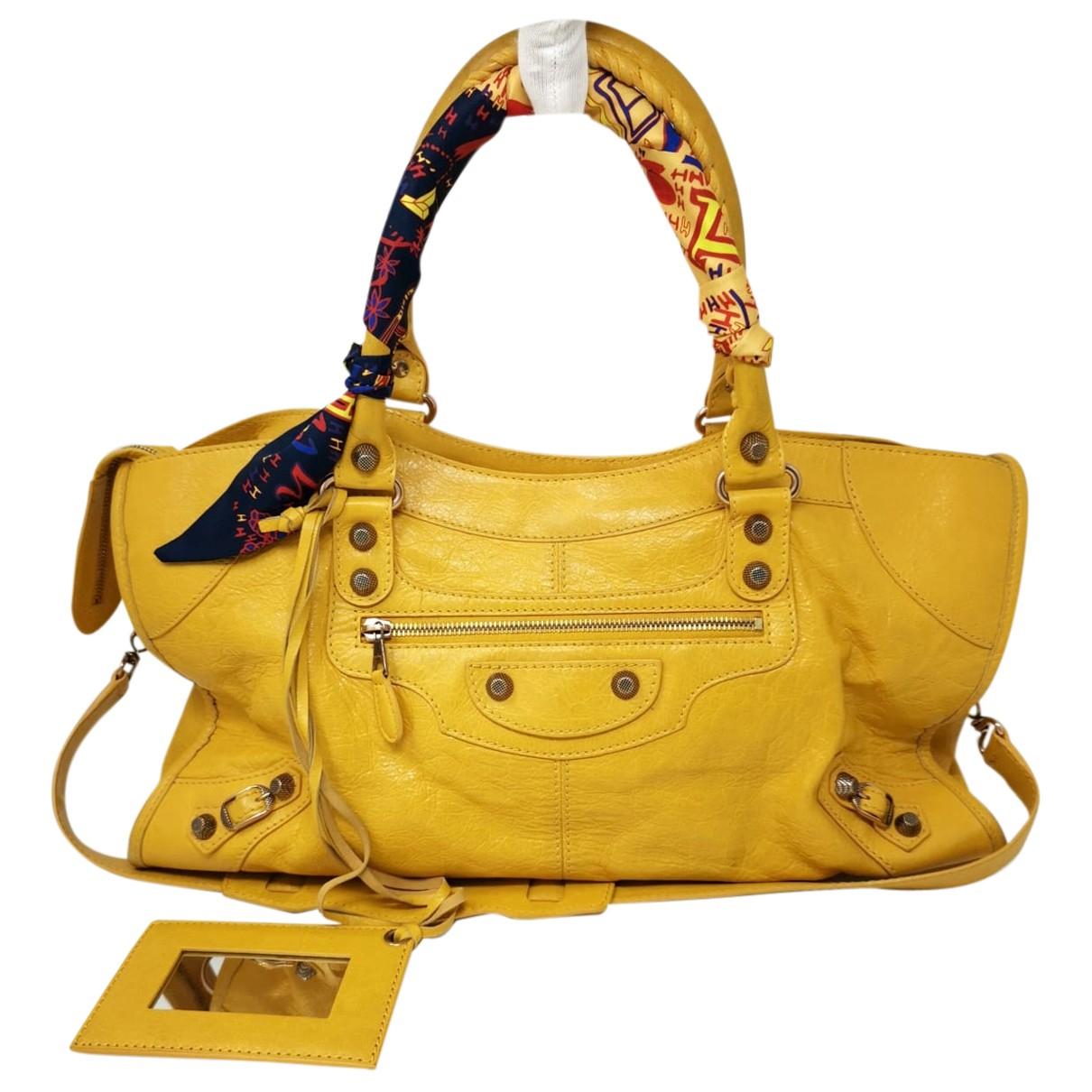 Balenciaga - Sac a main City pour femme en cuir - jaune