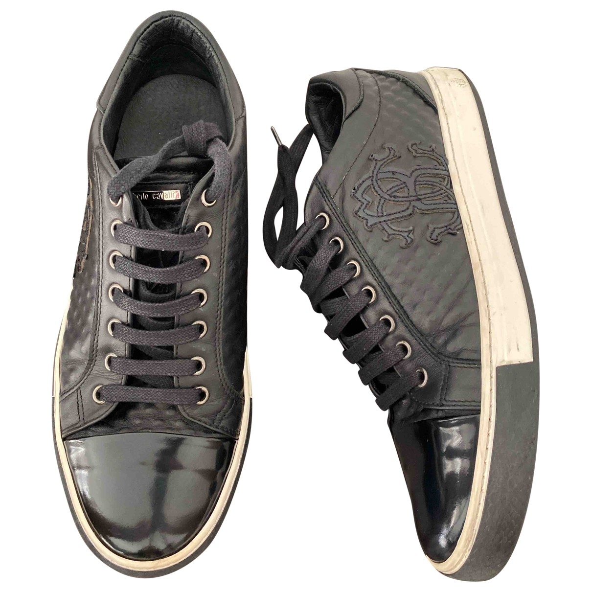 Roberto Cavalli \N Black Leather Trainers for Men 41 EU