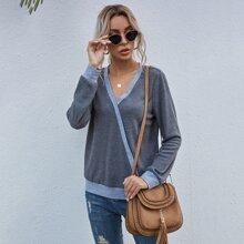 Wrap Front Waffle Knit Sweatshirt