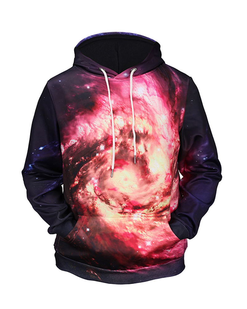 Casual Style Vibrant Color Loose Model Pullover 3D Painted Hoodie