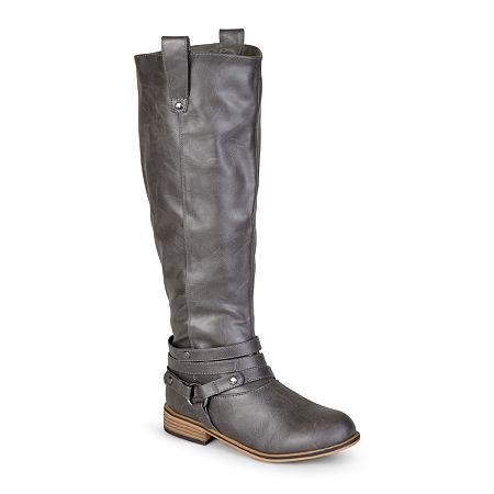 Journee Collection Womens Walla Riding Boots, 10 Medium, Gray