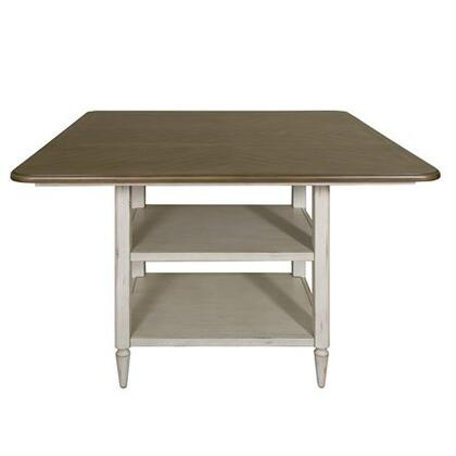 Oak Hill Collection 517-IT5454 Kitchen Island Table with Open Display Storage  Fancy Face Veneer Tops and One 18 Inch Leaf in Tan Smoke & Antique