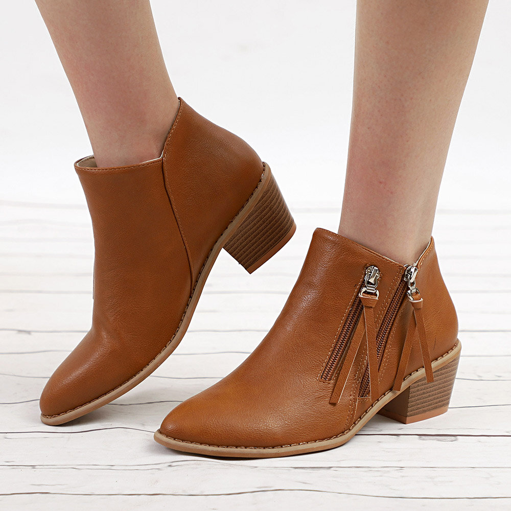 Big Size Women Autumn Winter Pointed Toe Chunky Heel Zipper Ankle Boots