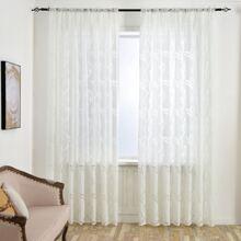 1 pieza cortina fina con patron de hoja