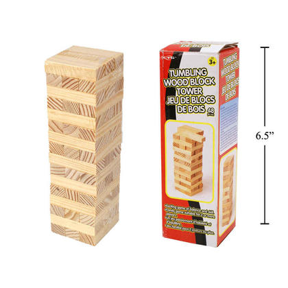Tour de bloc en bois pour jeu d'empilement de blocs en bois, 48 pièces