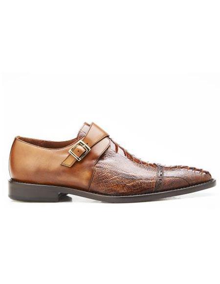 Mens Authentic Belvedere Brand Slip Leather Buckle Antique Almond Shoe