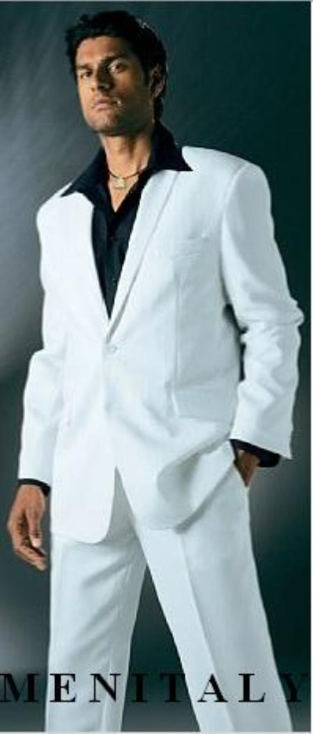 White Suit With Flat Front No Pleat Pants With shirt
