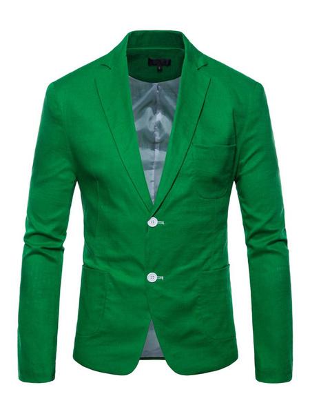 Milanoo Chaqueta de traje casual con botones en la parte delantera de los hombres Chaqueta de corte estandar en la primavera