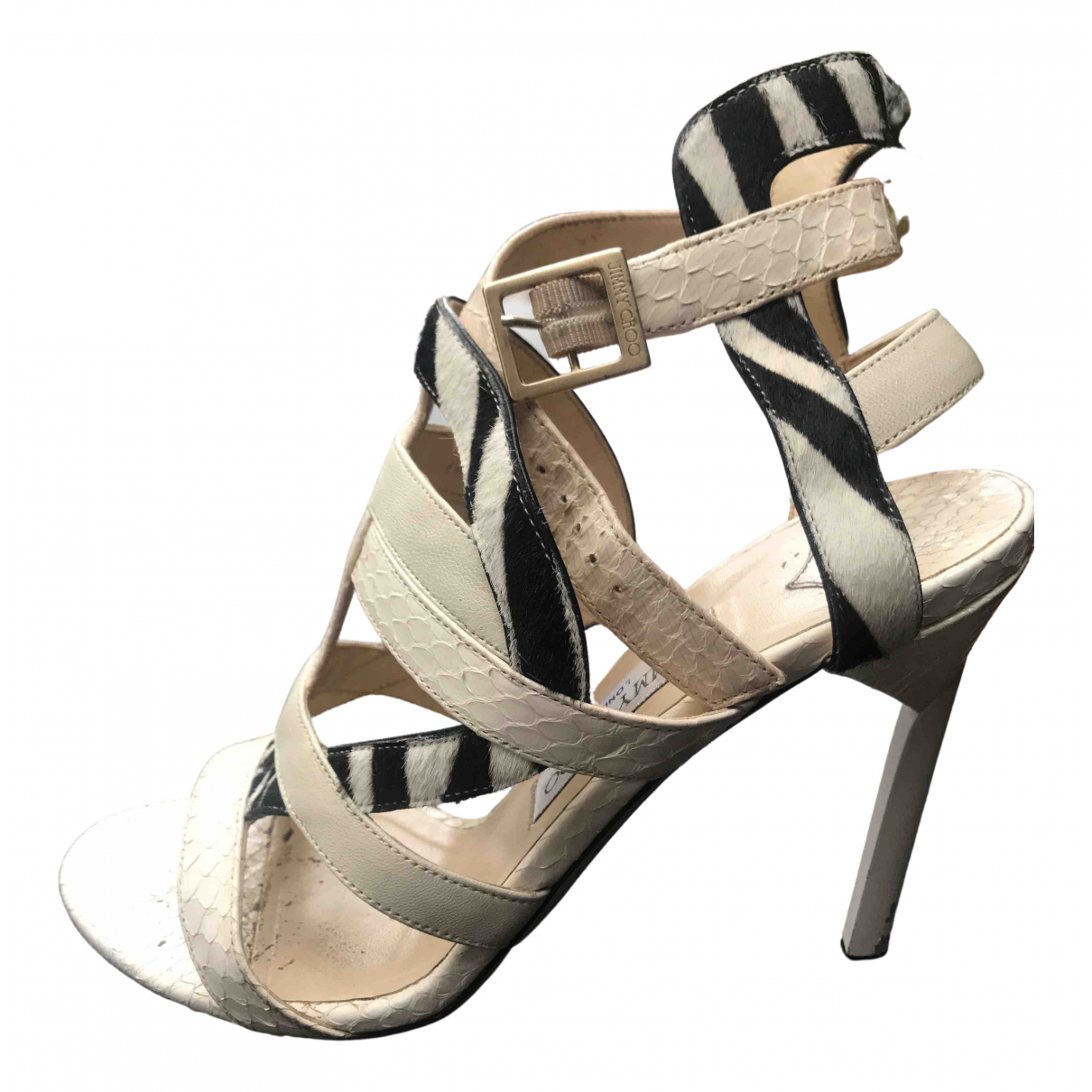 Jimmy Choo N White Pony-style calfskin Sandals for Women 40 EU