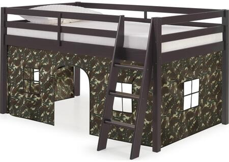 Roxy Collection AJRX10P0ATCGN Twin Size Junior Loft Bed with Ladder Included  Safety Guardrails  Espresso Brazilian Pine Wood Frame and Polyester