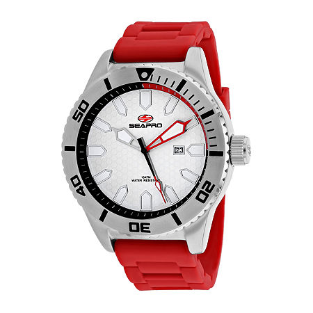 Sea-Pro Mens Red Strap Watch-Sp1314, One Size , No Color Family