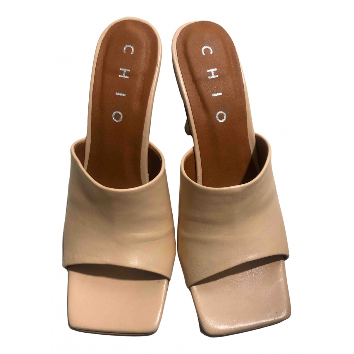 Non Signé / Unsigned \N Beige Leather Sandals for Women 38 EU