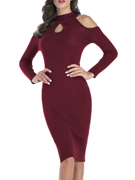 Milanoo Knitted Dress Hunter Green Stripes Jewel Neck Long Sleeves Acrylic Casual Bodycon Dress