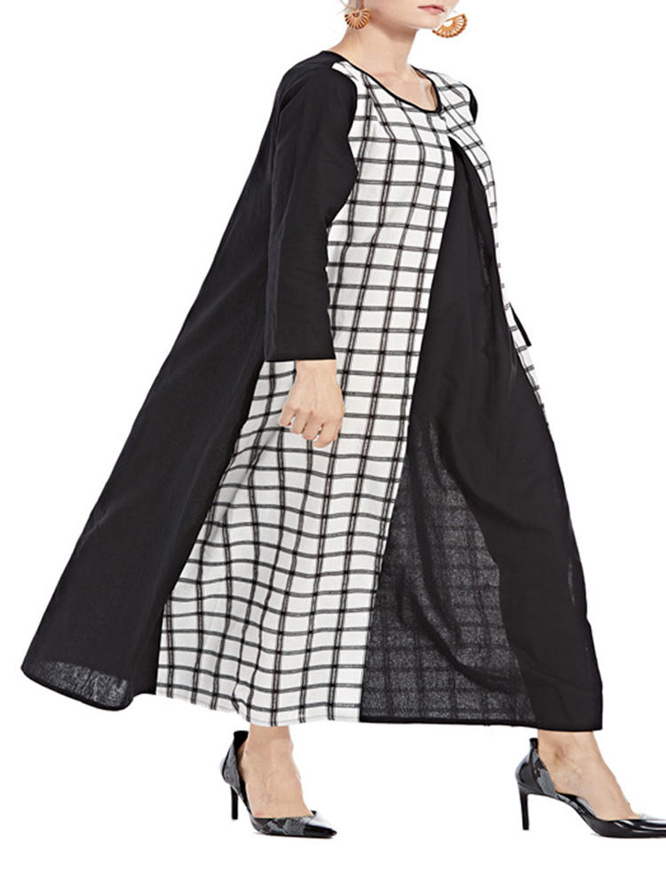 Women Casual Plaid Patchwork Loose Long Sleeve Maxi Dress