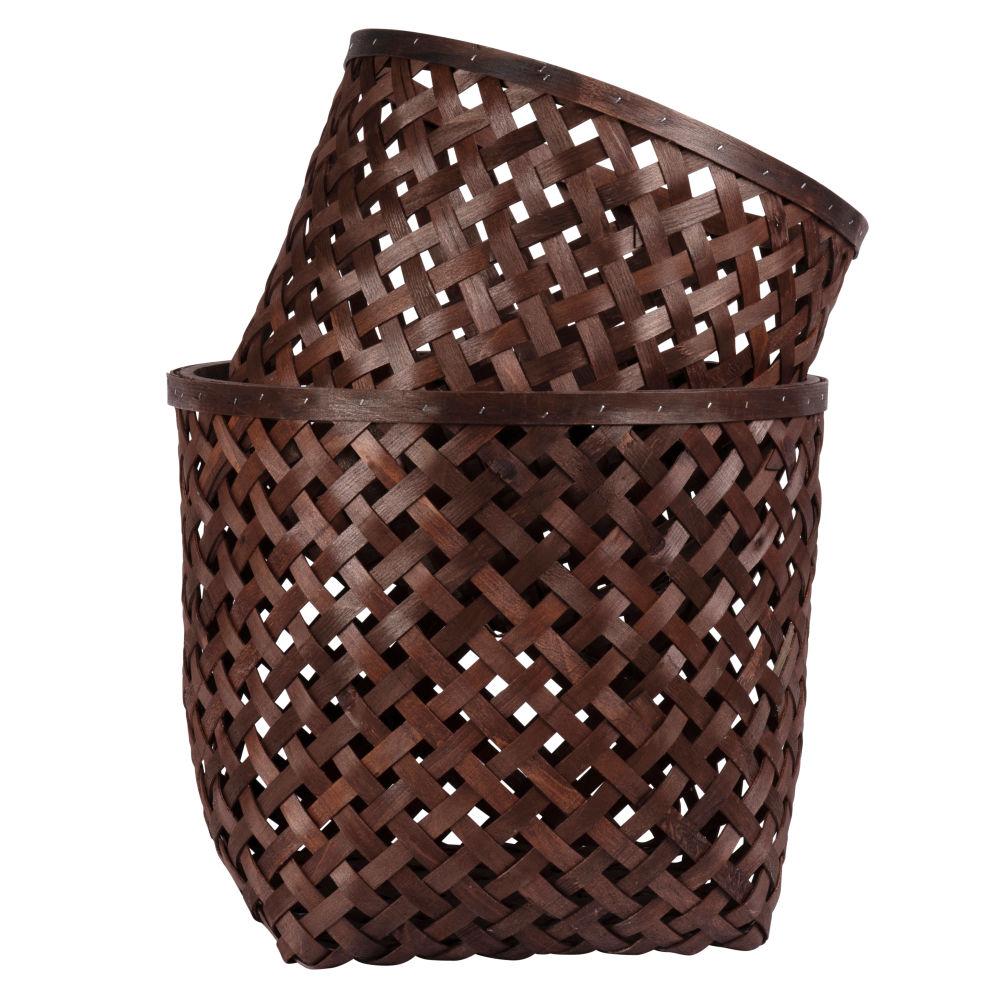 Korbe aus braunem Tannenholz, rund (x2)