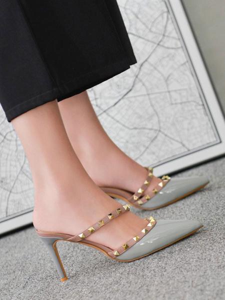 Milanoo High Heels Slip-On Pointed Toe Color Block Stiletto Heel Rivets Chic Vintage Mules