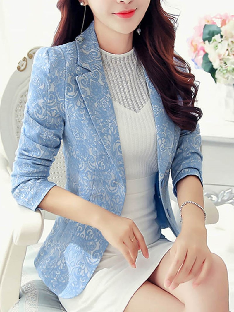 Ericdress Slim Single-Breasted Floral Blazer