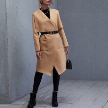 Waterfall Collar Pocket Front Coat Without Belt