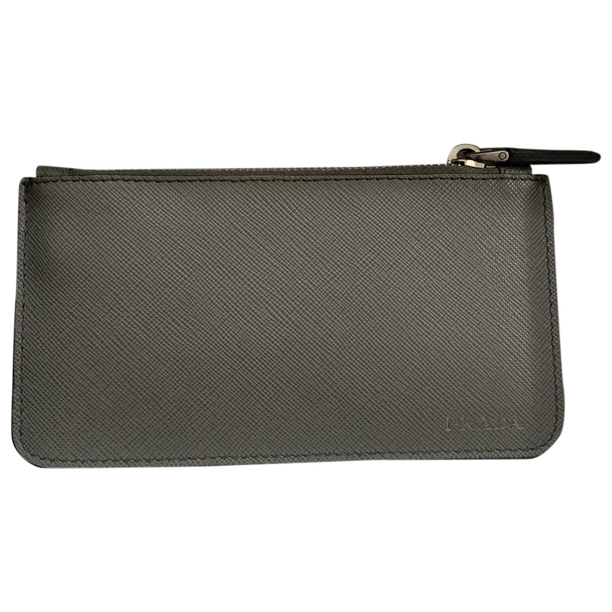 Prada N Grey Leather Small bag, wallet & cases for Men N