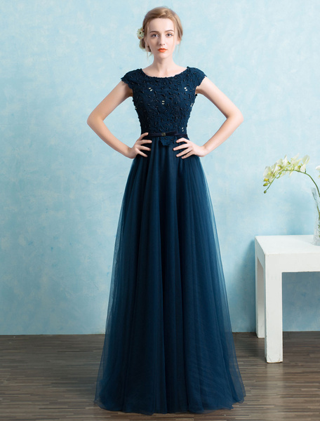 Milanoo Blue Prom Dress 2020 Long Tulle Beading Evening Dresses Dark Navy Backless Floor Length Party Dresses wedding guest dress