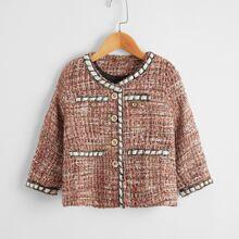 Tweed Mantel mit Kontrast Saum und Knopfen
